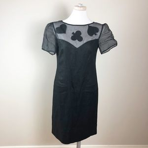 Vintage Linen Louis Feraud Card Deck Black Dress